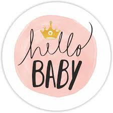 hello baby shower baby shower stickers hello baby pink 37mm matt paper