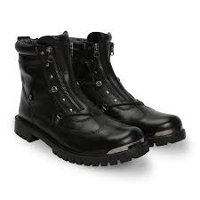 black biker boots buy black leather ankle boots with gunmetal at best price