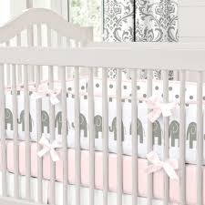 pink and gray elephants crib bedding carousel designs