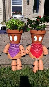 Garden Craft Terra Cotta Marker - hand painted terracotta pots pieced together to make cute people