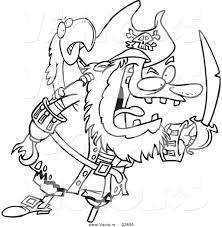 vector of a cartoon tough pirate and bird coloring page outline