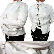 Patient Halloween Costumes White Asylum Patient Straight Jacket Halloween Costume Unisex