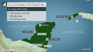 Map Of Yucatan Slowly Budding Tropical System To Stir Downpours Seas In Gulf Of