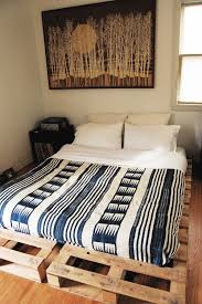 diy low profile king bed frame made from wooden pallet ideas
