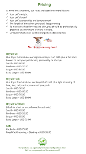 services u0026 prices u2013 royal pet groomers