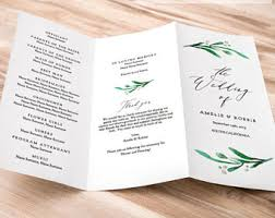 tri fold wedding program templates trifold program etsy