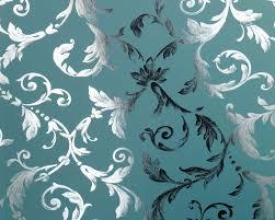 Schlafzimmer Tapeten Braun Tapete Grün Türkis Silber Blumen Muster Metalltapete Online Kaufen