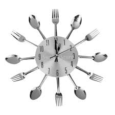 kitchen wall clocks modern aliexpress com buy modern unique aluminum spoon fork clock