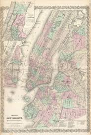 New York Pocket Map by File 1865 Colton Map Of New York City Manhattan Brooklyn Long