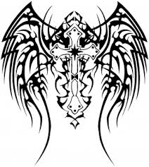 tribal wings and cross decal car or truck window decal sticker rad