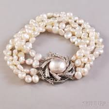 pearl bracelet with gold clasp images Search all lots skinner auctioneers jpg