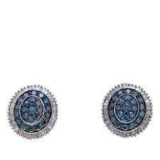 blue stud earrings 1ctw blue and white diamond sterling silver stud earrings