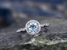 antique design rings images Round aquamarine wedding rings solid 14k white gold engagement jpg