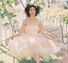 wedding dresses non white bridal gown peach tea length