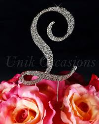 l cake topper unik occasions sparkling collection rhinestone monogram
