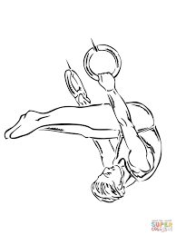 gymnastic ring performance coloring page free printable coloring