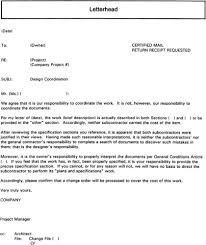 Letter Of Intent To Terminate Contract by 3 9 4 Sample Letter To Owner Regarding Lack Of Design Coordination