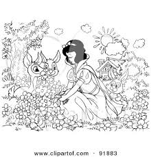 clipart princess snow white sitting ground forest