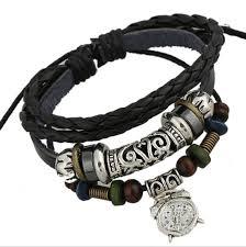 leather bracelet silver charms images Latest diy charm bracelets handmade fashion dangle retro watch jpg