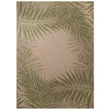 3 X 5 Indoor Outdoor Rugs Palm Border 5 Ft 3 In X 7 Ft 4 In Indoor Outdoor Area Rug
