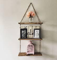 Rustic Wood Bookshelves by Hanging Shelves 3 Shelves Rustic Wood Shelf Floating Shelf