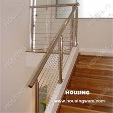Wire Banister Stairs Wire Railing With Stainless Steel Handrails In Safety