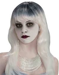 spirit halloween color contacts womens long black white wavy ghostly spirit ghost lady costume wig