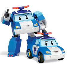 silver sharp deformation police car perry robot children toy car