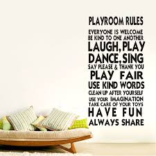 playroom rules family wall stickers decal removable art vinyl payment