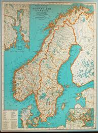 Vintage Map 1937 Vintage Map Of Norway And Sweden Vintage Norway Map