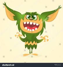 halloween vector happy cartoon gremlin monster halloween vector stock vector