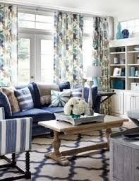 Cottage Style Living Room With Denim Blue Slipcover Sofas - Cottage style family room