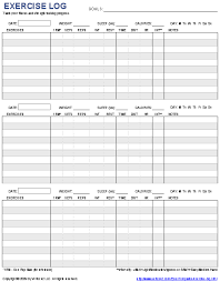 Workout Excel Template Free Printable Exercise Log And Blank Exercise Log Template