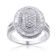 silver diamond rings sterling silver diamond cluster ring 1 19ct