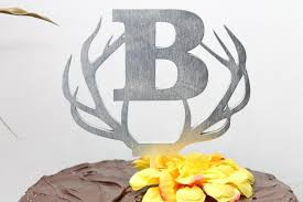 antler cake topper custom monogram initial deer antler wedding cake topper rustic