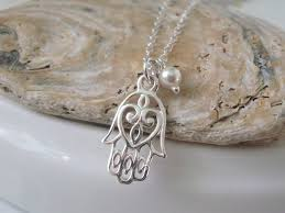 sterling charm necklace chain images Sterling silver charm necklace hamsa hand pendant necklace jpg