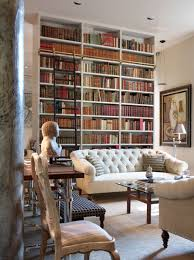 interior attractive u shape home library design with open wall