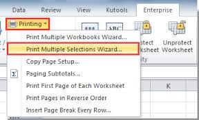 how to print selected columns together on one page in excel