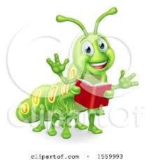 clipart of a happy green caterpillar holding a book royalty free