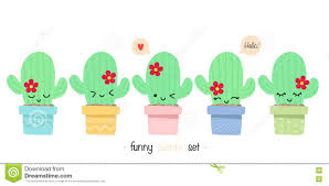 set of cute cactus flat style with funny faces stock vector