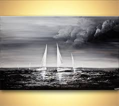 sea home decor painting sailboats sea textured painting black gray white home