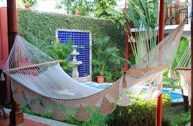 hammock in a courtyard stock image image of water shade 39381393