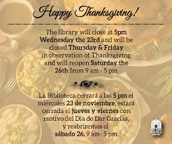 library in observance of thanksgiving city of san juan