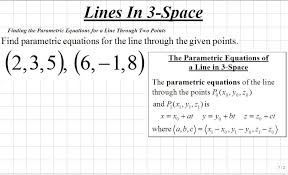 classroom calculus iii finding parametric equations for the