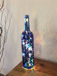 Wine Bottle Home Decor Wine Bottle Light Alcohol Ink Paint Wine Bottle Blue And Green