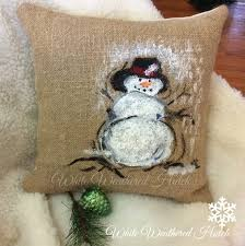 Christmas Pillows Pottery Barn White Weathered Hutch Painted Snowman Pillow Pottery Barn Knock