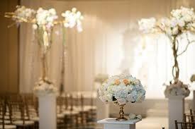 ceremony décor photos small floral arrangement on pedestal