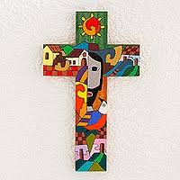 wooden wall crosses painted wood wall cross from central america custodian of two