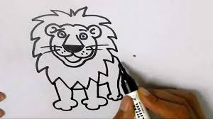 how to draw a lion in easy steps for children kids beginners