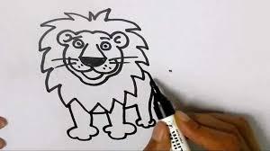 draw lion easy steps children kids beginners